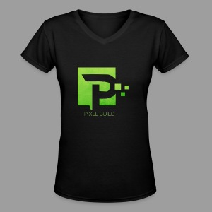 PixelBuild T-Shirt In Green - Women's V-Neck T-Shirt