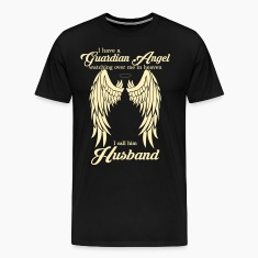 My Husband Is My Guardian Angel she Watches Over  T-Shirts