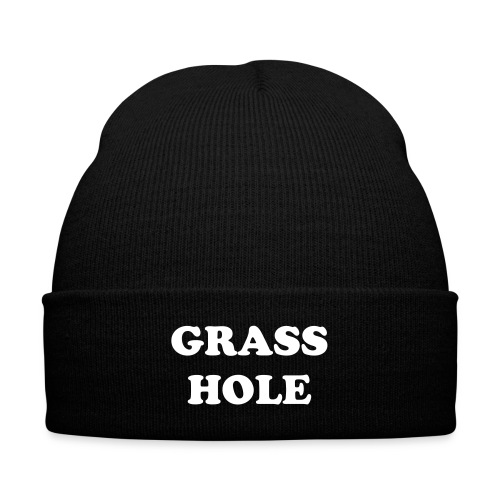 Grasshole White 2 - Knit Cap with Cuff Print