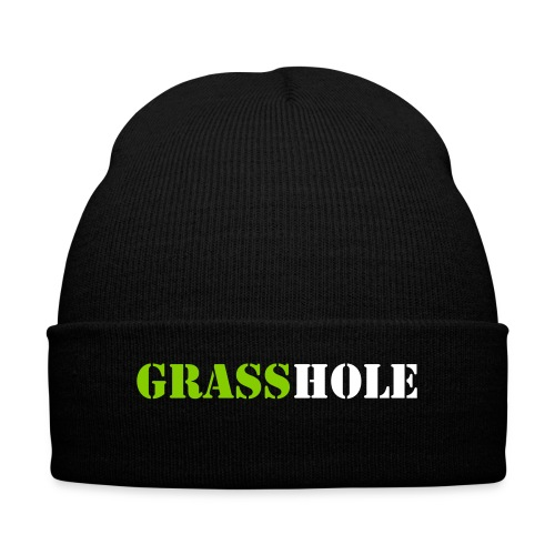 Grasshole White 4 - Knit Cap with Cuff Print