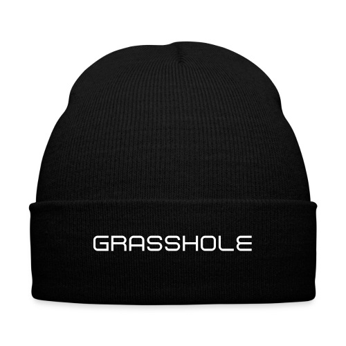 Grasshole White - Knit Cap with Cuff Print