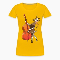 Cool Okapi Playing Double Bass Women's T-Shirts