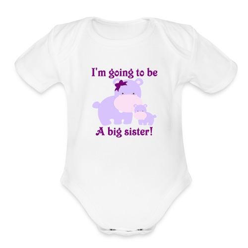 Big Sister Hippo with Baby Sister Hippo - Organic Short Sleeve Baby Bodysuit
