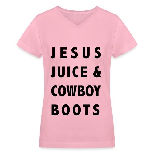 Jesus Juice & Cowboy Boots Vneck - Women's V-Neck T-Shirt