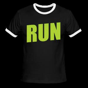 Run Neon Green Triangles - Men's Ringer T-Shirt