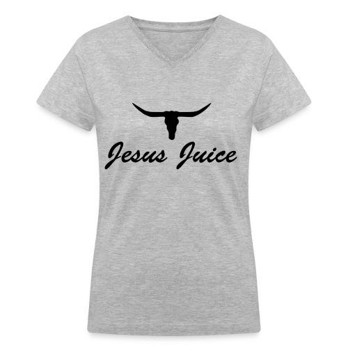 Texas Jesus Juice Vneck (more colors) - Women's V-Neck T-Shirt