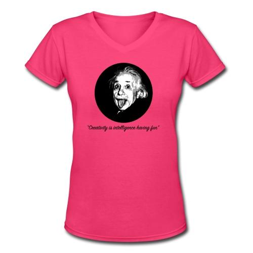 Einstein Creativity Quote - Women's V-Neck T-Shirt