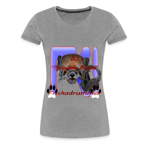 Gray DJ Pawsitive Panda Friskodrummer Tee (Female) - Women's Premium T-Shirt