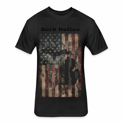 Buck Nation Mens American Flag - Fitted Cotton/Poly T-Shirt by Next Level