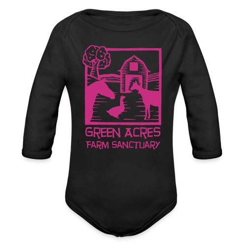 Baby One Piece Long Sleeve - Pink Logo - Organic Long Sleeve Baby Bodysuit