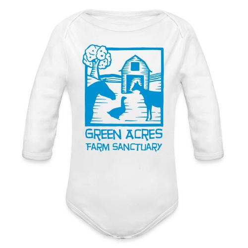 Baby One Piece Long Sleeve - Blue Logo - Organic Long Sleeve Baby Bodysuit