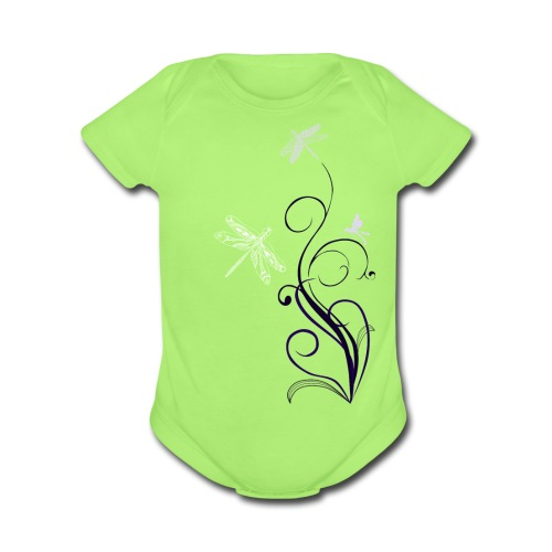 South Seas Tribal Dragonfly Short Sleeve Baby Bodysuit - Organic Short Sleeve Baby Bodysuit