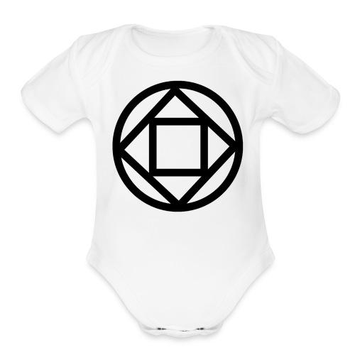 Disquarcle (Black)(Baby) - Organic Short Sleeve Baby Bodysuit