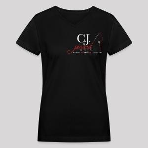 Women's V-Neck T-Shirt C.J. PINARD LOGO Black - Women's V-Neck T-Shirt