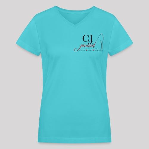 Women's V-Neck T-Shirt C.J. PINARD LOGO Aqua - Women's V-Neck T-Shirt
