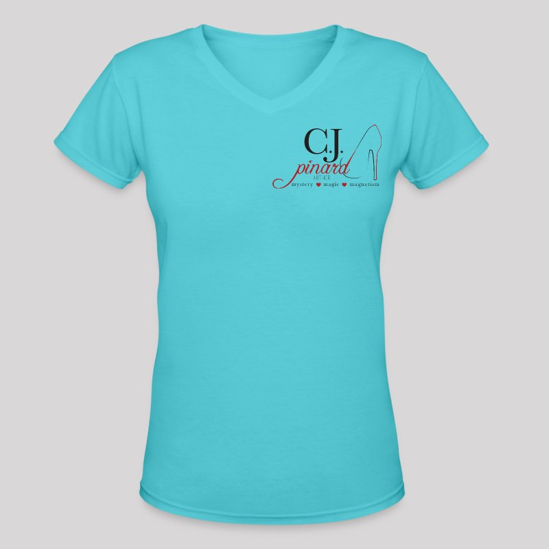 Women's V-Neck T-Shirt C.J. PINARD LOGO Aqua - Women's V-Neck T-Shirt