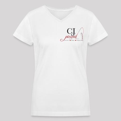 Women's V-Neck T-Shirt C.J. PINARD LOGO White - Women's V-Neck T-Shirt