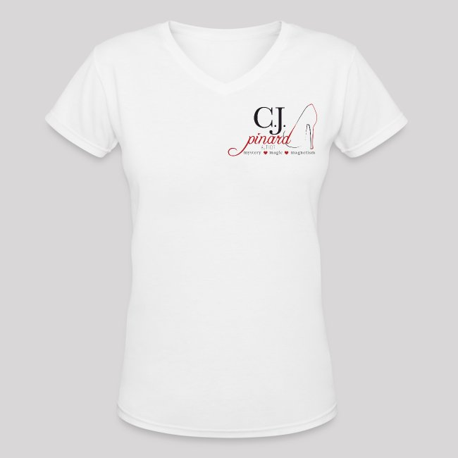 Women's V-Neck T-Shirt C.J. PINARD LOGO White