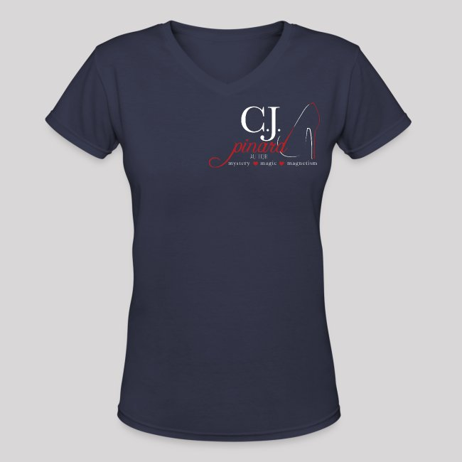 Women's V-Neck T-Shirt C.J. PINARD LOGO Navy