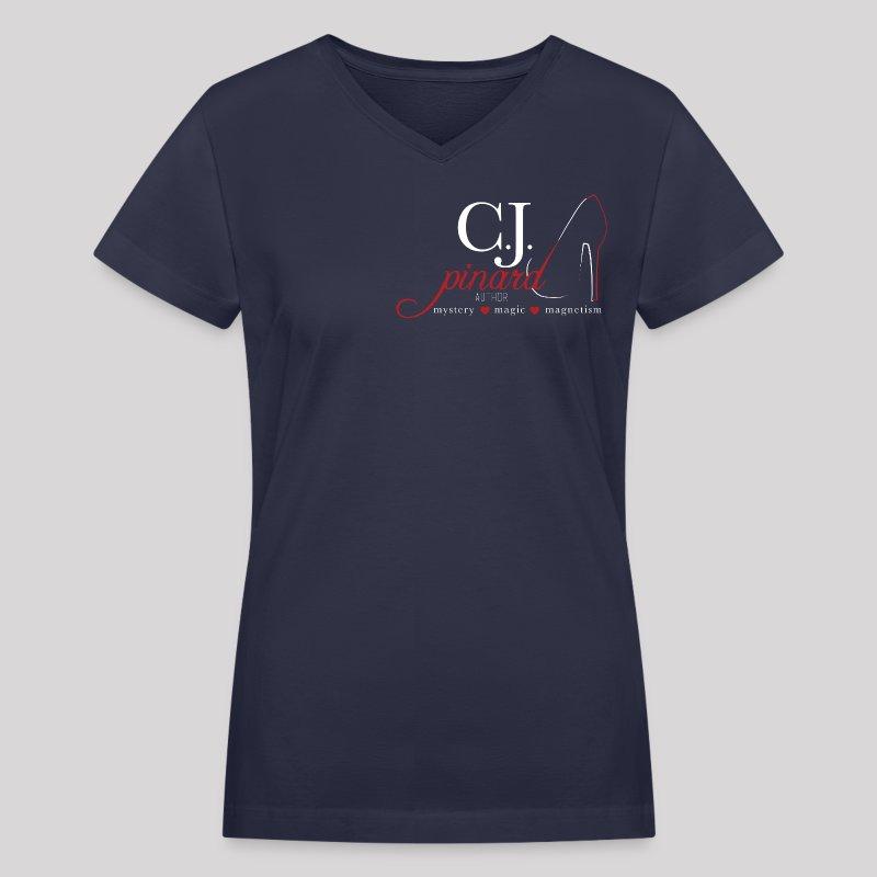 Women's V-Neck T-Shirt C.J. PINARD LOGO Navy - Women's V-Neck T-Shirt