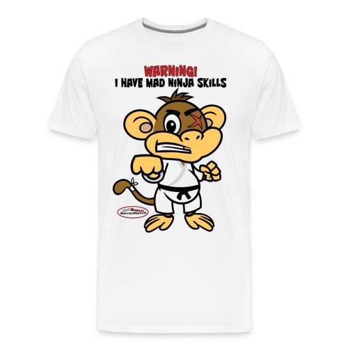 Ugly Monkey Adventures - Mens T-Shirt with Martial Arts Quote - Multiple Colors - Warning: I Have Mad Ninja Skills - Men's Premium T-Shirt