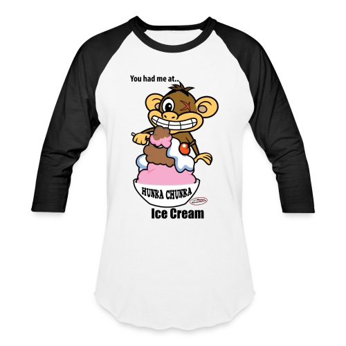 Ugly Monkey Adventures - Man's Baseball T-Shirt with Ice Cream Quote - Multiple Colors - You Had Me At Ice Cream - Baseball T-Shirt