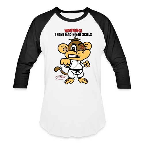 Ugly Monkey Adventures - Man's Baseball T-Shirt with Martial Arts Quote - Multiple Colors - Warning: I Have Mad Ninja Skills - Baseball T-Shirt
