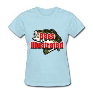 Women's T-shirt in Powder Blue - Bass Illustrated Large Logo - Women's T-Shirt