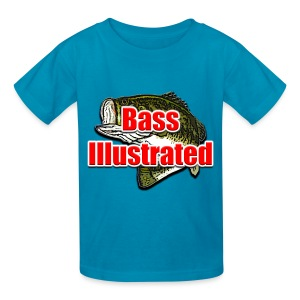 Kid's T-shirt in Powder Blue - Bass Illustrated Large Logo - Kids' T-Shirt