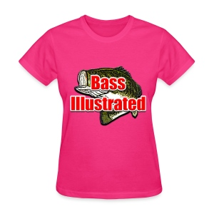 Women's T-shirt in Fuchsia - Bass Illustrated Large Logo - Women's T-Shirt