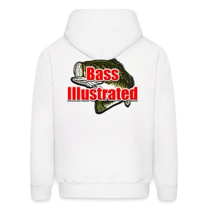 Men's Hoodie in White - Bass Illustrated Front & Back Graphic - Men's Hoodie