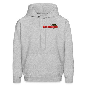 Men's Hoodie in Heather Gray - Bass Illustrated Front & Back Graphic - Men's Hoodie