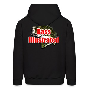 Men's Hoodie in Black - Bass Illustrated Front & Back Graphic - Men's Hoodie