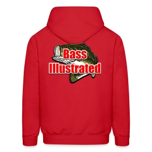 Men's Hoodie in Red - Bass Illustrated Front & Back Graphic - Men's Hoodie