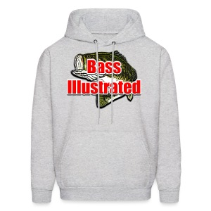 Men's Hoodie in Ash - Bass Illustrated Front Graphic - Men's Hoodie