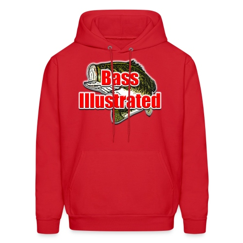 Men's Hoodie in Red - Bass Illustrated Front Graphic - Men's Hoodie