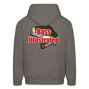 Men's Hoodie in Asphalt - Bass Illustrated Front & Back Graphic - Men's Hoodie