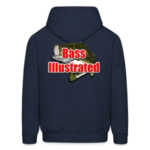Men's Hoodie in Navy - Bass Illustrated Front & Back Graphic - Men's Hoodie
