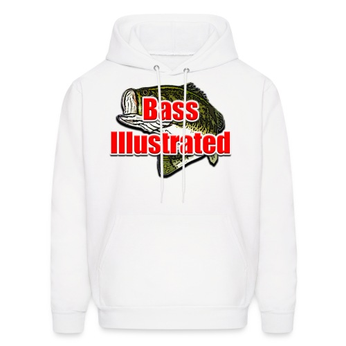 Men's Hoodie in White - Bass Illustrated Front Graphic - Men's Hoodie