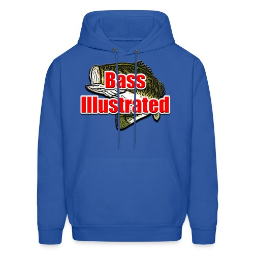 Men's Hoodie in Royal Blue - Bass Illustrated Front Graphic - Men's Hoodie