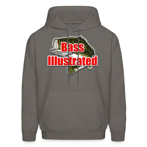 Men's Hoodie in Asphalt - Bass Illustrated Front Graphic - Men's Hoodie