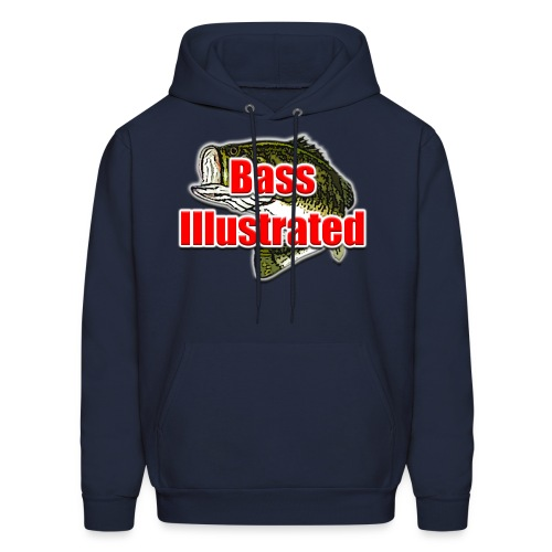 Men's Hoodie in Navy - Bass Illustrated Front Graphic - Men's Hoodie