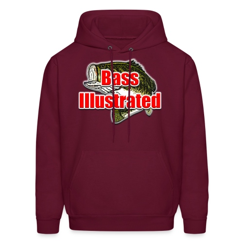 Men's Hoodie in Burgundy - Bass Illustrated Front Graphic - Men's Hoodie