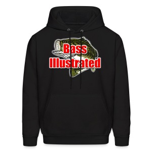 Men's Hoodie in Black - Bass Illustrated Front Graphic - Men's Hoodie