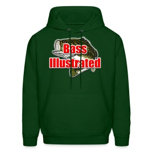 Men's Hoodie in Forest Green - Bass Illustrated Front Graphic - Men's Hoodie