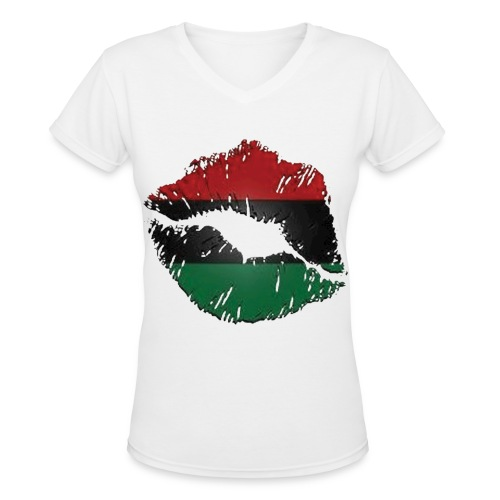Red, black, green lips - Women's V-Neck T-Shirt