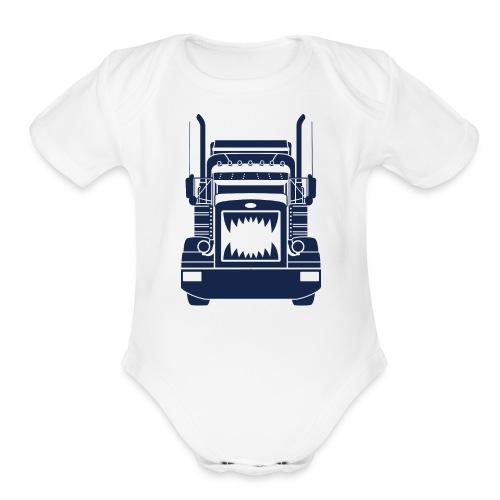 Trucker Teeth - Organic Short Sleeve Baby Bodysuit
