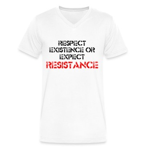 RESPECT EXISTENCE V NECK T-SHIRT - men - Men's V-Neck T-Shirt by Canvas
