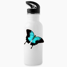 Simple Blue Butterfly Design For Waterbottle
