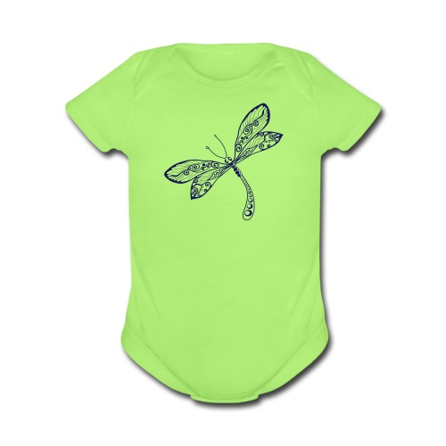 BB Monde Tribal Dragonfly from South Seas - Organic Short Sleeve Baby Bodysuit